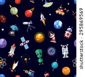 pattern of space icons and... | Shutterstock . vector #295869569