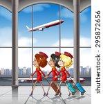 three flight attendants pulling ...   Shutterstock .eps vector #295872656