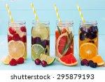 detox fruit infused flavored... | Shutterstock . vector #295879193