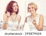 two pretty female friends... | Shutterstock . vector #295879424