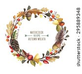 Vector Wreath Of Autumn Leaves...