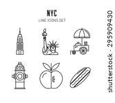 New York City. Line Icons Set....