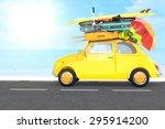 small car traveling for summer... | Shutterstock . vector #295914200