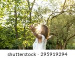 young woman meditating and... | Shutterstock . vector #295919294
