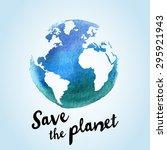 vector watercolor earth... | Shutterstock .eps vector #295921943