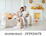 young family with a child at... | Shutterstock . vector #295934678