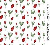 tulip flower vector seamless... | Shutterstock .eps vector #295937750