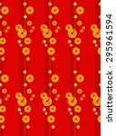 Chinese Coins Pattern And Red...