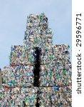 Stack of shreddered plastic bottles - stock photo