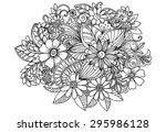 doodle flowers in black and... | Shutterstock .eps vector #295986128