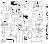 hand drawn doodles interior... | Shutterstock .eps vector #295993130