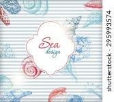 hand drawing seashells frame... | Shutterstock .eps vector #295993574