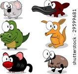 Koala, crocodile, tasmanian devil, platypus, kangaroo, emu