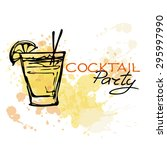 hand drawn poster. cocktail... | Shutterstock .eps vector #295997990