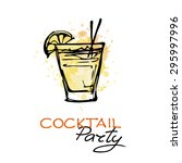hand drawn poster with cocktail.... | Shutterstock .eps vector #295997996