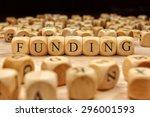 funding word written on wood... | Shutterstock . vector #296001593