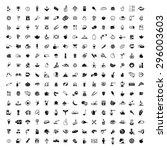 food set of vector black icons... | Shutterstock .eps vector #296003603