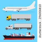 shipping and delivery vehicles  ... | Shutterstock .eps vector #296006810
