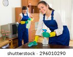 positive professional cleaners... | Shutterstock . vector #296010290
