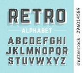 retro style alphabet vector... | Shutterstock .eps vector #296014589