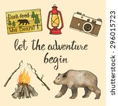hand drawn camping set with... | Shutterstock .eps vector #296015723