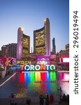 Stock photo toronto canada july the new toronto sign in nathan phillips square celebrating the panam 296019494