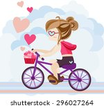 cute cartoon girl character is... | Shutterstock .eps vector #296027264