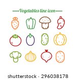 set of icons vegetables linear... | Shutterstock .eps vector #296038178