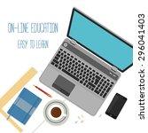 flat design concept for online... | Shutterstock .eps vector #296041403