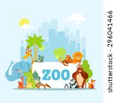 set of cute cartoon zoo animals ... | Shutterstock .eps vector #296041466