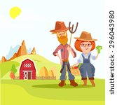 couple of cute cartoon farmers  ... | Shutterstock .eps vector #296043980