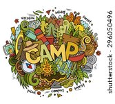 summer camp hand lettering and... | Shutterstock .eps vector #296050496