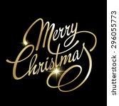 merry christmas lettering... | Shutterstock .eps vector #296055773