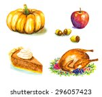 thanksgiving day set with... | Shutterstock .eps vector #296057423