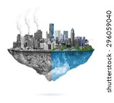 green ecology city against... | Shutterstock . vector #296059040