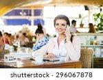 attractive young businesswoman... | Shutterstock . vector #296067878
