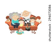 grandparents and grandchildren. ... | Shutterstock .eps vector #296073086