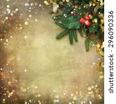 christmas fir tree border over... | Shutterstock . vector #296090336