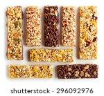 various granola bars isolated... | Shutterstock . vector #296092976