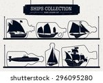 hand drawn ship silhouettes set ... | Shutterstock .eps vector #296095280