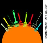 spoon fork icon vector kitchen... | Shutterstock .eps vector #296103659