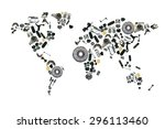 map of the world made up of... | Shutterstock . vector #296113460