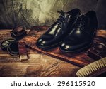shoe care accessories on a... | Shutterstock . vector #296115920