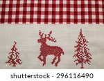Red Embroidered One Deer  Two...