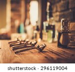shaving accessories in a barber ... | Shutterstock . vector #296119004