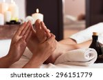 massage of human foot in spa... | Shutterstock . vector #296151779