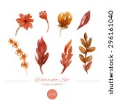 watercolor floral elements set. ... | Shutterstock .eps vector #296161040