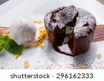 warm cut chocolate fondant with ... | Shutterstock . vector #296162333