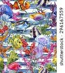 Watercolor Sea Life Seamless...