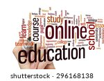 online education concept word... | Shutterstock . vector #296168138